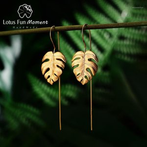 Lotus Fun Moment 925 Gümüş Altın Uzun Damla Küpe Bırak Gemi Moda Takı Bırakır Dangle Küpe Kadınlar Için Dropshipping Store1