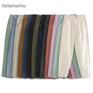 13Colors jeans pour femmes militaire fourgon pantalon de cargaison décontracté taille haute pantalon Harem pantalon de travail de carrot pantalon automne hiver filles1