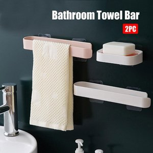 Self Adhesive Towel Holder Free Punching Wall Mounted Bathroom Towel Bar Shelf Bathroom Supplies Roll Paper Towel Hanger yxlHDz sports2010
