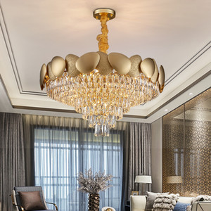 New modern chandelier lighting for living room round gold crystal chain chandeliers luxury home decor led light fixture