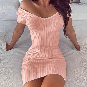 Striped collar five knit soft summer women's wear 2020 spring off shoulder long sleeve mini dress women's evening wear