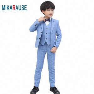 Mikarause Kids Boys Blue Plaid Suits Boy High Quality Formal Wedding Tuxedo Dress Blazer Suit Set costume enfant garcon mariage YtLQ#