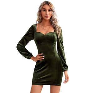 2021 Women's Velvet Maxi Mini Club Dress Sexy Tight Chest Cup Long Sleeves Sleeve Dress Woman Dresses Models For Womens