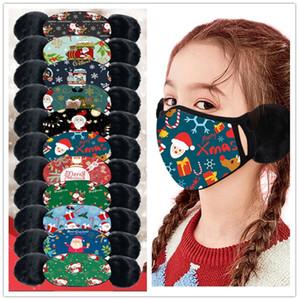 Noel baskı Çocuklar Maskeler Kış Sıcak Peluş Yüz Isıtıcı SATIŞ E101402 Karikatür Facemask Erkek Bebek Kız Ağız-mufla kulaklık Windproof Kulak Maske