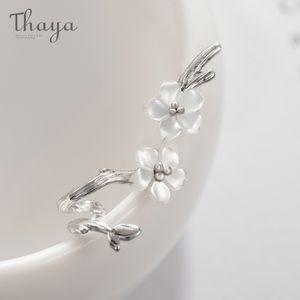 Thaya White Cherry S925 серебряные серьги серебро цветок круглые серьги для женщин элегантные украшения в Q1111