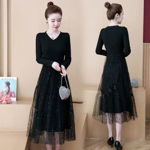 Large Size Women's Wear 2020 Autumn and Winter New Simple Knitted Loose Waist Bottom Splicing Mesh Long Lace Dress