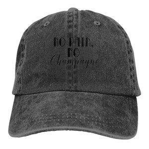 No Pain No Champagne Denim Baseball Caps Unisex Skate Sport Denim Bill Caps Fashion Active Dome Hats
