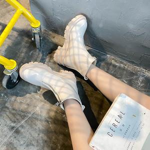 Round Toe Shoes Lady Boots Summer Booties Flat Heel Luxury Designer Boots-women Zipper Low Heels booties Ladies Rubber Rock