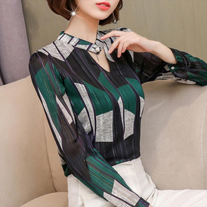 2021 Fashion Print Chiffon Blouse Women Shirt Long Sleeve Plus Size Women Tops Stripe Ol Blouse Womens Clothing Blusas 0092 30