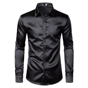 Men's Black Satin Luxury Dress Shirts 2020 Silk Smooth Men Tuxedo Shirt Slim Fit Wedding Party Prom Casual Shirt Chemise Homme