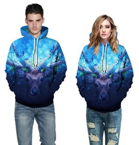 Explosions Christmas digital printing couples autumn casual loose hooded pullover sweater long sleeve street coat