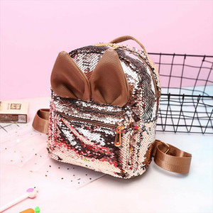 Lovely Kids Backpack Small Sequins Backpack Rabbit Ears Girls School Mini Bag Travel Rucksack Shoulder Bags