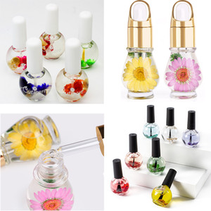 Set de 5 x Nail Art Nutrition Oil Nail Cuticle Oil + Flower Natural Spent Cuticle Aceite Revitalizer Tratamiento Nutrición Tratamiento Polaco Na980B