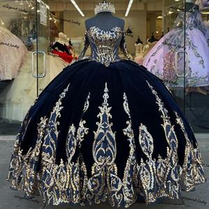 네이비 블루 벨벳 공 가운 Quinceanera 드레스 스팽글 Applique 롱 슬리브 레이스 업 Vestido 멕시코 달콤한 15 Prom 가운