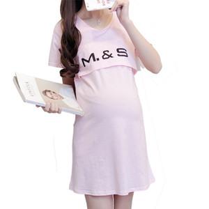 Manufacturer's summer sleeping Dress LARGE T-SHIRT 2020 new postpartum loose cotton half sleeve Maternity Nursing Dress