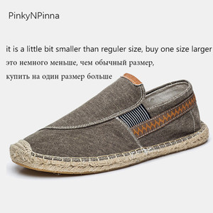 vintage men's casual canvas loafers flat hemp bottom Espadrilles driving soft shoes for holiday beach sailing Bohemian style 201019
