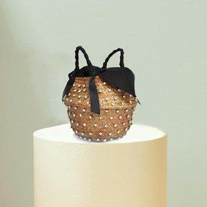 Handmade Sewing Holiday Fashion Crystal Woven Basket Diamond Clutch Bag Luxury Handbags Women Bags Designer Hot Straw Handbags 201006