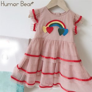 Humour Bear 2020 Summer Girls Robe Enfants Filles 2020 Coton Volants Colorful Robe de princesse Colorful Girl Girl Vêtements Mesh Gâteau Robe T200624