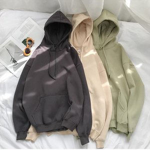 Cotton 12 Colors Sweatshirt oversized Women clothes Solid Hooded Female 2020 Thicken Warm Hoodies Lady Fashion Tops Korean style