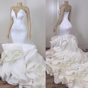 Real Image Ruffle Mermaid Wedding Dress Bridal Gowns Plus Size Sweetheart Open Back South African vestidos de novia Garden Wedding