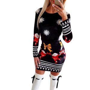 Dresses for Women Christmas Bodycon 2020 Fashion knitted Print Woman Dress Long Sleeve Autumn Winter Clothing for Female
