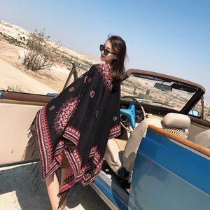 Autumn and winter women's Cape ethnic style warm thickened knitted cashmere split long Warm nation Cloak nation shawl