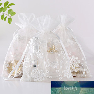 12pcs 16X23 White Sunflower Gift Drawstring Bags Organza Jewelry Bag Wedding Party Christmas Bag Storage Creative Drawstring