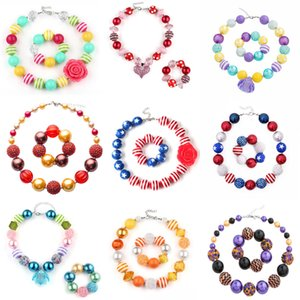60 Design Baby Girl Pendant Chunky Bead Necklace Bracelet American Flag Unicorn Diamond Rose Skull Head Bow Bubblegum Toddler Party Jewelry