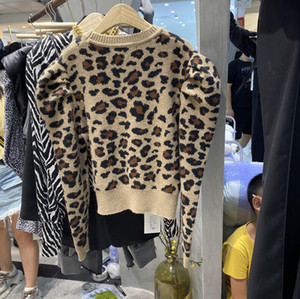 Spring 2020 new Korean turtleneck leopard print long-sleeve pullover web celebrity sweater for women languid style loose knit top