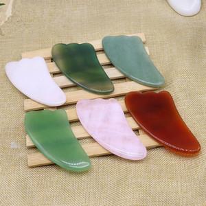 Natürliche Jade-Stein Guasha Brett Rose Quartz grüner Achat Dongling Jade Guasha Scraper GesichtMassager Gua Sha Werkzeuge RRA3752