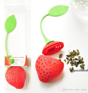 Oral Hygiene Red Strawberry shape silicon tea infuser strainer silicon tea filler bag ball dipper Teacup Teapot Filter lin4585