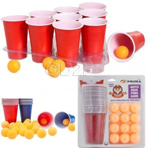 1 Set Entertainment Fun Party Drinking Game Party Game Drin king Toy Board Game Beer Pong Kit 24 Pong Balls and 24 Red Cups Y200421