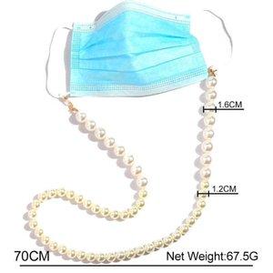 FlatFoosie Fashion Imitation Perle Maschera per le perle Cordino per le donne 70 cm Colore oro perline perline occhiali catena occhiali da sole cordino gioielli H BBYBXV
