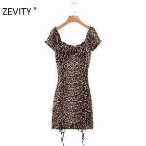 ZEVITY Новый женский сексуальный плиссированные оборки леопарда печати эластичная тонкий платье женщина лук привязанные мини vestidos шикарные летние платья DS4298