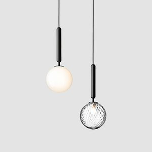 2021 Nordic postmodern minimalist single head bedside chandelier creative glass ball chandelier bedroom clothing store chandelier