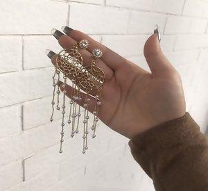 Pendientes de temperamento japonés y coreano Femenino Super Fairy Dream Catcher Pendientes de perlas largas Pendientes de tassel de la moda de la plata de la plata