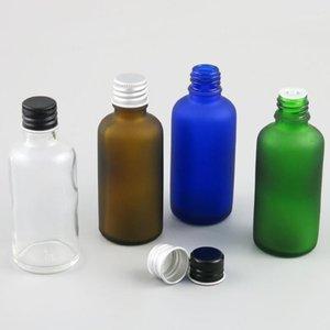 저장 병 항아리 10 x 50ml 에센셜 오일 휴대용 녹색 / 클리어 / 브라운 / 블루 유리 병 액체 시약 피펫을위한 알루미늄 캡