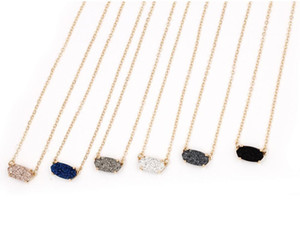 2020 New Fashion New Small Druzy Plated Colored Pendant Necklace for Women