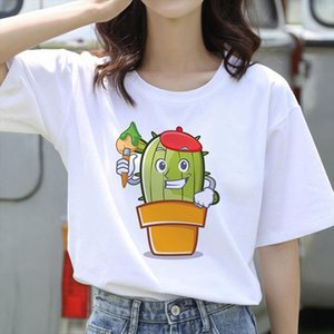 2021 new Womens T shirt Plant Cactus Print T shirt Fashion Female Tee Top Graphic Female T shirts Clothing Camisas Mujer