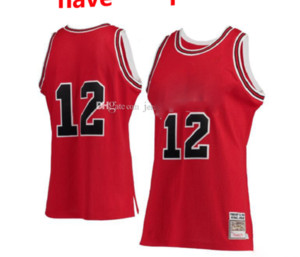 Hombres 12 Michael Mitchell Ness Red Hardwoods Classics # 12 Authentic Jersey S-6XL