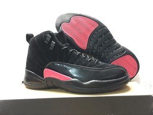 Nova Lançamento 12 GS Rush Rosa Homens Mulheres Sapatos Preto / Escuro Cinza-Rush Rosa 510815-006 Sapatos Esportivos com Caixa