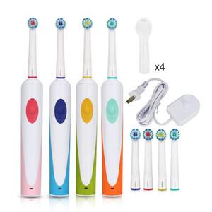 AZDENT Brosses à dents électrique Rotating Brosse à dents rechargeables avec 4pcs Têtes de remplacement EU Plug Oscillation Brosse à dents adultes 201113