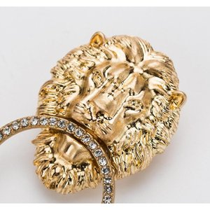Bling Bling Rhinestone Lion Head Earring Women Animal Lion Head Statement Earring Gold Silver Fashion Jew sqcfQJ queen66