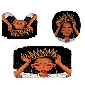 Hermosa niña africana tejido duradero cortina de ducha del cuarto de baño fijados cubierta de alfombras de baño WC cubierta Pad Mat 4 8 Patrones yxlCPp garden_light