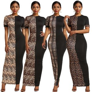 Summer Autumn African Dresses for Women New Dashiki Leopard African Clothes Plus Size Print Retro Africa Bodycon Long Maxi Dress
