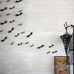 Set of 12 3D PVC Bat Wall Stickers Home Decor for Party Kids Room Living Room Wall Decals Wallpaper Halloween Decoration