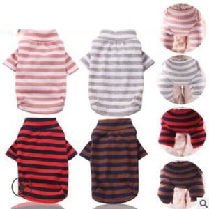 Pet Clothes Elastic Bottoming Shirt Pet Dog Striped Clothes Cotton Warm Winter T-shirt Cat Puppy Costume Apparel for Small Medium Dog 34 p2