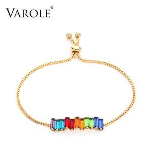 7 pulgadas VAROLE (tamaño ajustable) regalos de la joyería del arco iris de cristal pulseras de los brazaletes del color oro de colores pulsera de moda Mujeres para 0930