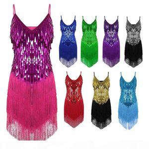 Performance Women Dance Clothes Salsa Braces Dress V-neck Competition Costume Set Ballroom Sequins Fringes Girls Latin Dresses