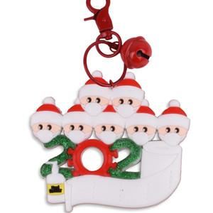 ПВХ Рождество брелок DIY Xmas Желает С Face Mask Семьи из 2-7 Висячего Названия Подвески украшения подарков партия FavorT2I51552